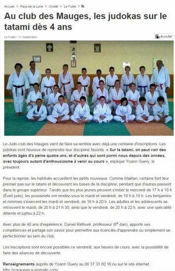 Judo Club des Mauges dans Ouest France